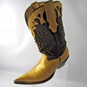 Rudel Vintage Size 6 Gold Brown Boots Shoes Womens